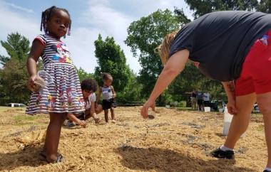 """Groundswell"" mulch, wood chips, sunflower seeds, people Nebraska City, NE. 2018    Photo by Jessica Witte."