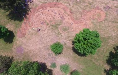 """Groundswell"" mulch, wood chips, sunflower seeds, people Nebraska City, NE. 2018"