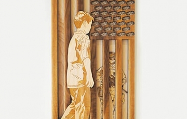 """Land of Freedom, Home of Courageous"" (2018) – Laser engraved and cut digital illustration, glue, varnish on wood (12x24x1 in).  JAVE YOSHIMOTO"