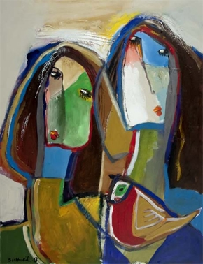 cubism painting of two women and bird