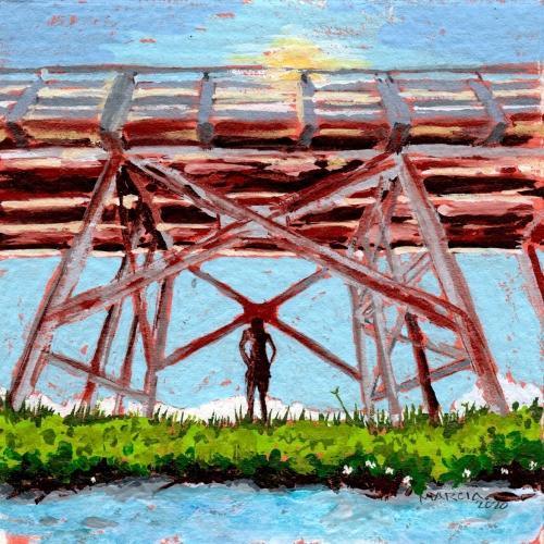 """This Old Bridge"" 4x4 gouache, 2020"